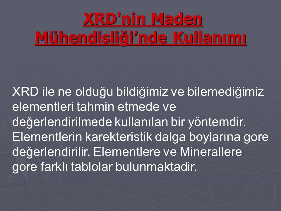 XRD nin Maden Mühendisliği'nde Kullanımı XRD nin Maden Mühendisliği'nde Kullanımı XRD ile ne olduğu bildiğimiz ve bilemediğimiz elementleri tahmin etmede ve değerlendirilmede kullanılan bir yöntemdir.