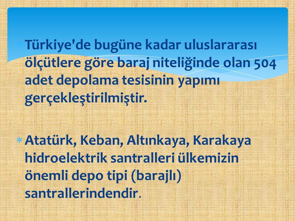  Türkiye'de bugüne kadar uluslararası ölçütlere göre baraj niteliğinde olan 504 adet depolama tesisinin yapımı gerçekleştirilmiştir.  Atatürk, Keban