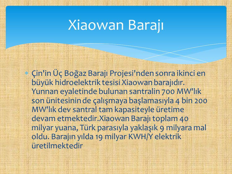  Çin'in Üç Boğaz Barajı Projesi'nden sonra ikinci en büyük hidroelektrik tesisi Xiaowan barajıdır. Yunnan eyaletinde bulunan santralin 700 MW'lık son