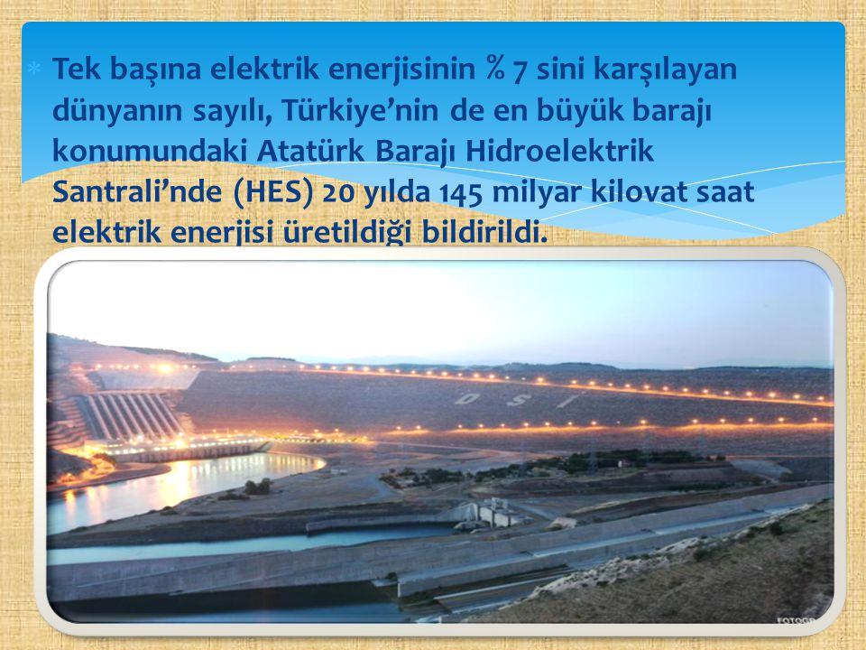  Tek başına elektrik enerjisinin % 7 sini karşılayan dünyanın sayılı, Türkiye'nin de en büyük barajı konumundaki Atatürk Barajı Hidroelektrik Santral