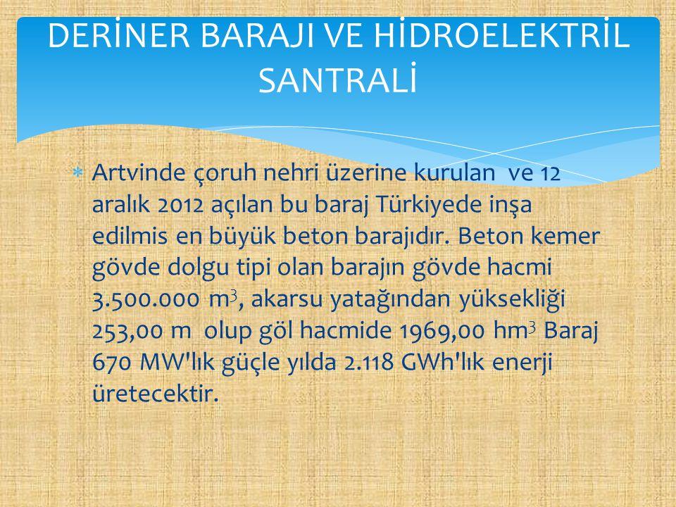  Artvinde çoruh nehri üzerine kurulan ve 12 aralık 2012 açılan bu baraj Türkiyede inşa edilmis en büyük beton barajıdır. Beton kemer gövde dolgu tipi