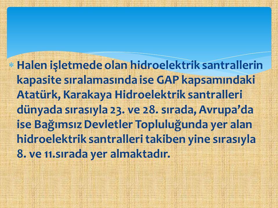  Halen işletmede olan hidroelektrik santrallerin kapasite sıralamasında ise GAP kapsamındaki Atatürk, Karakaya Hidroelektrik santralleri dünyada sıra