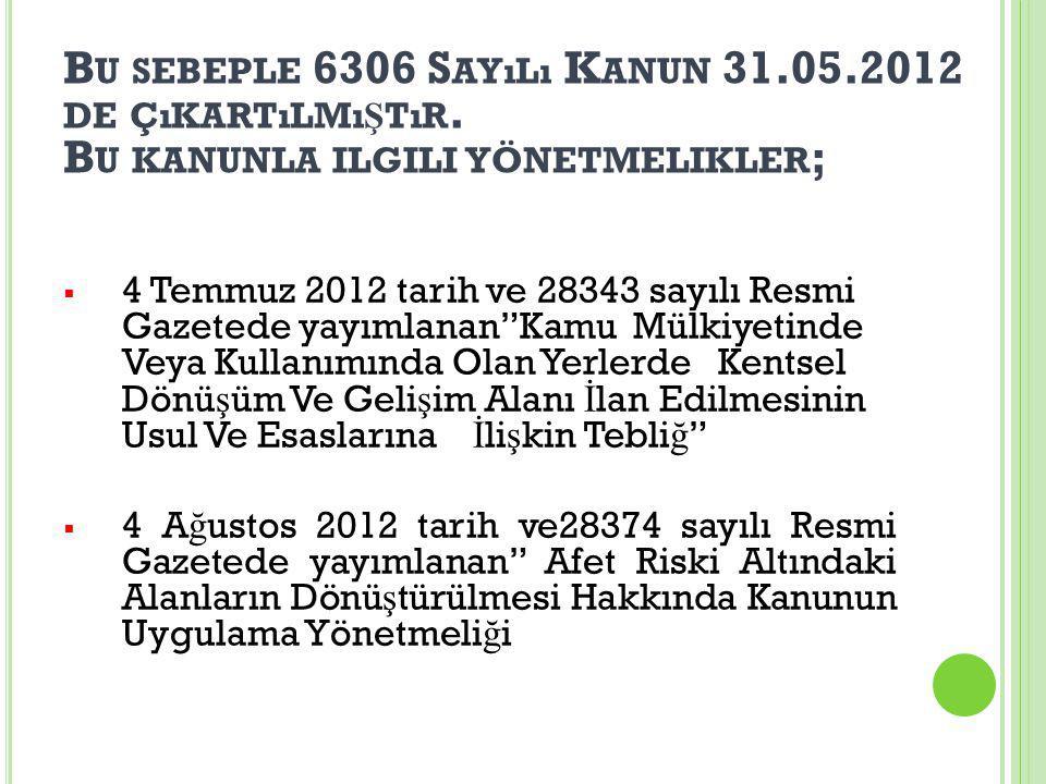 B U SEBEPLE 6306 S AYıLı K ANUN 31.05.2012 DE ÇıKARTıLMı Ş TıR.