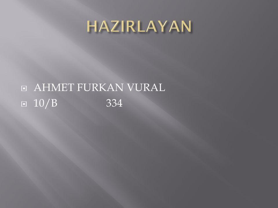  AHMET FURKAN VURAL  10/B 334
