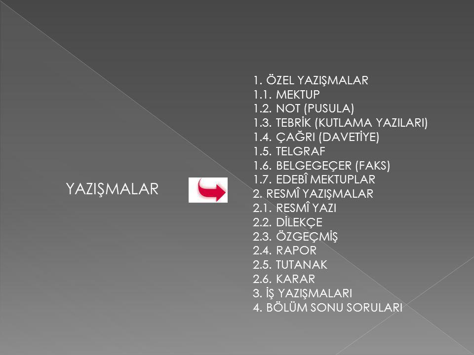 1.ÖZEL YAZIŞMALAR 1.1.