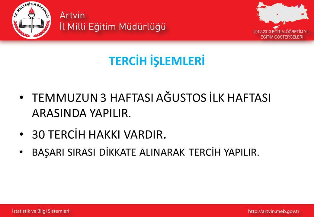TERCİH İŞLEMLERİ TEMMUZUN 3 HAFTASI AĞUSTOS İLK HAFTASI ARASINDA YAPILIR.