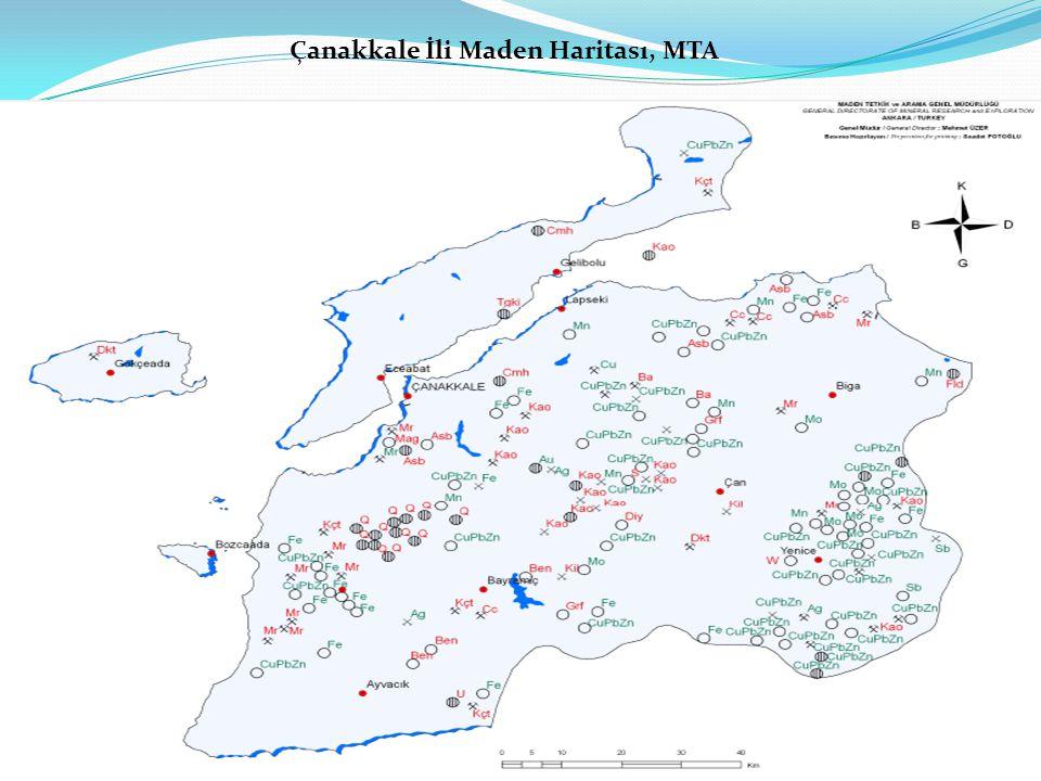 Çanakkale İli Maden Haritası, MTA