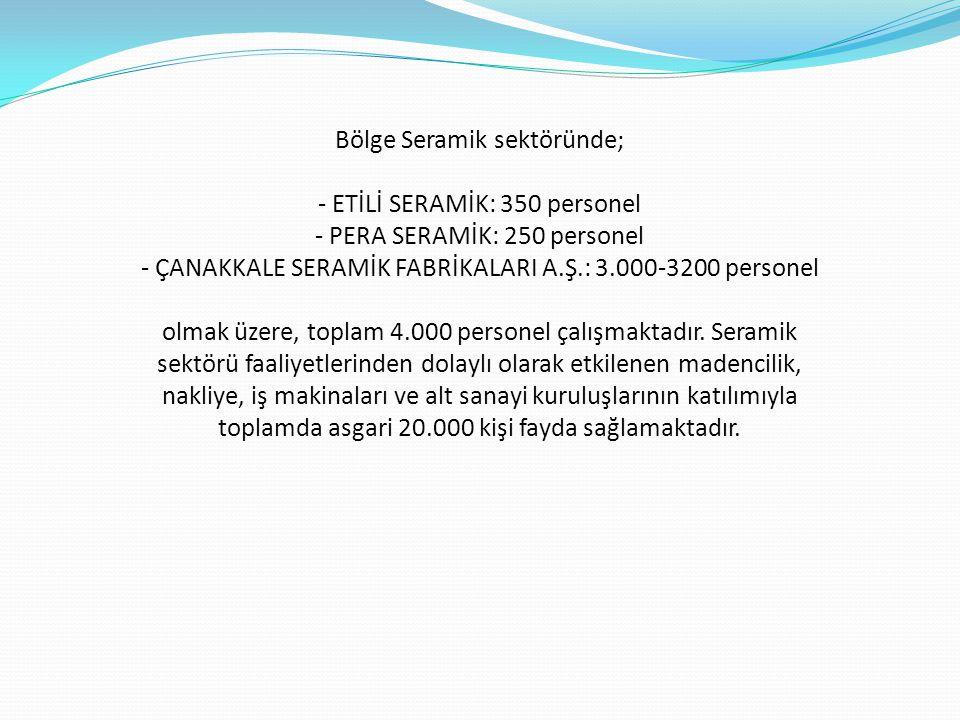 Bölge Seramik sektöründe; - ETİLİ SERAMİK: 350 personel - PERA SERAMİK: 250 personel - ÇANAKKALE SERAMİK FABRİKALARI A.Ş.: 3.000-3200 personel olmak ü
