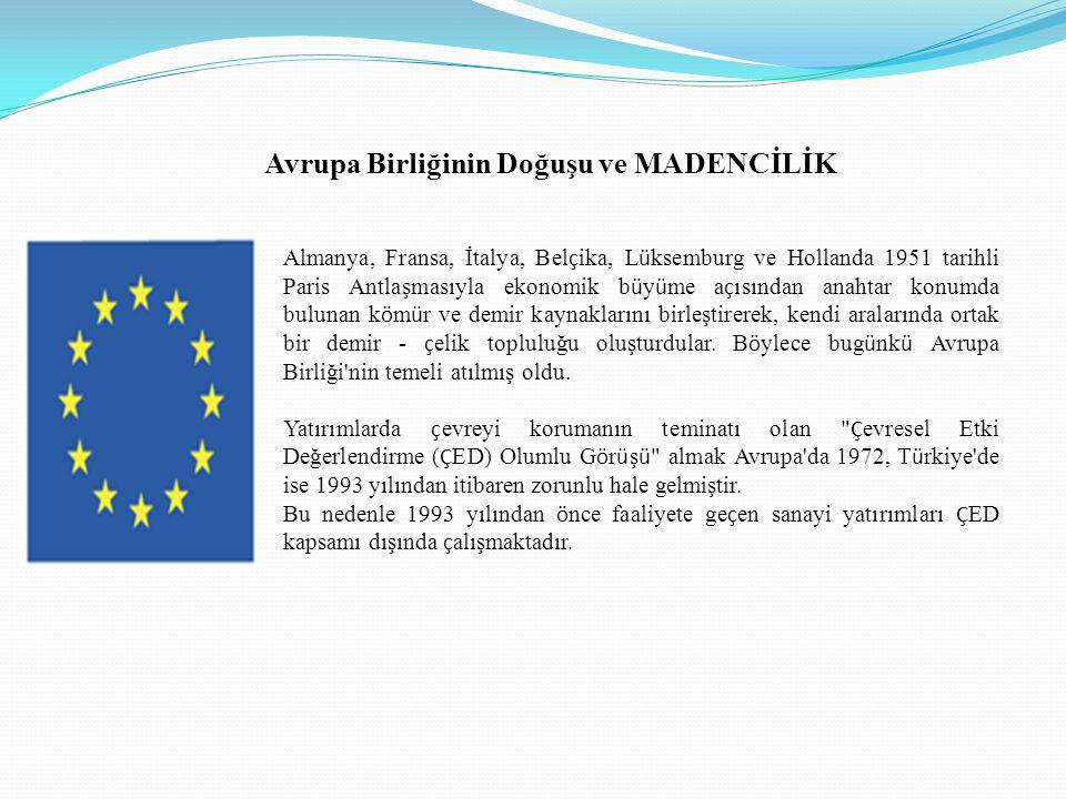 Avrupa Birliğinin Doğuşu ve MADENCİLİK Almanya, Fransa, İtalya, Bel ç ika, L ü ksemburg ve Hollanda 1951 tarihli Paris Antlaşmasıyla ekonomik b ü y ü me a ç ısından anahtar konumda bulunan k ö m ü r ve demir kaynaklarını birleştirerek, kendi aralarında ortak bir demir - ç elik topluluğu oluşturdular.
