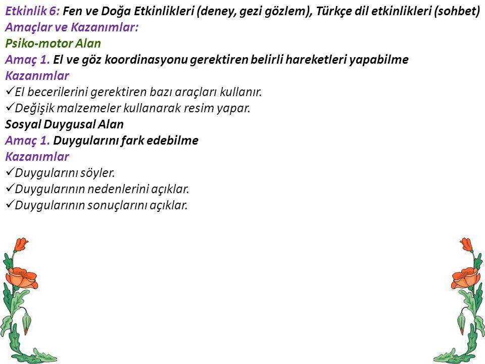 Etkinlik 6: Fen ve Doğa Etkinlikleri (deney, gezi gözlem), Türkçe dil etkinlikleri (sohbet) Amaçlar ve Kazanımlar: Psiko-motor Alan Amaç 1. El ve göz