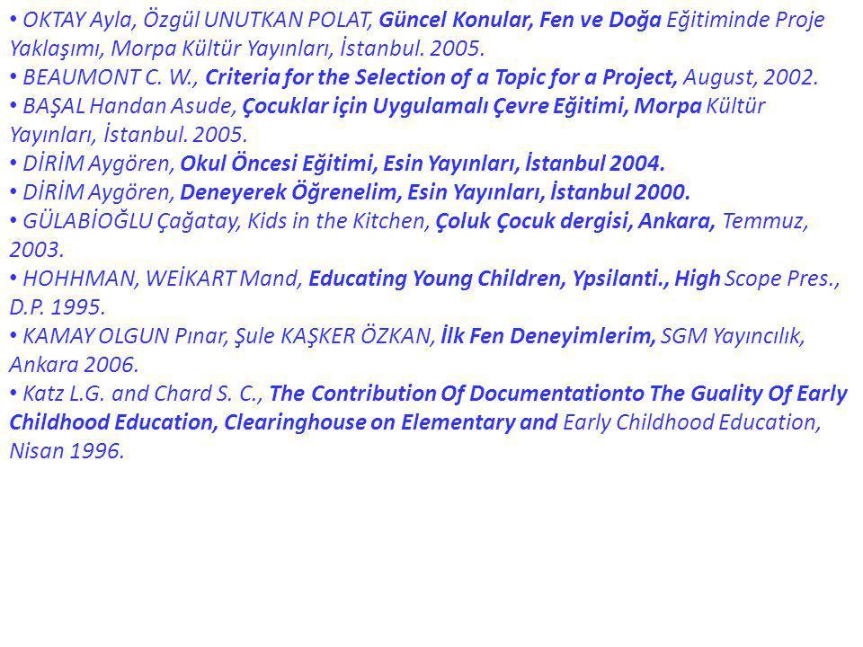 OKTAY Ayla, Özgül UNUTKAN POLAT, Güncel Konular, Fen ve Doğa Eğitiminde Proje Yaklaşımı, Morpa Kültür Yayınları, İstanbul. 2005. BEAUMONT C. W., Crite