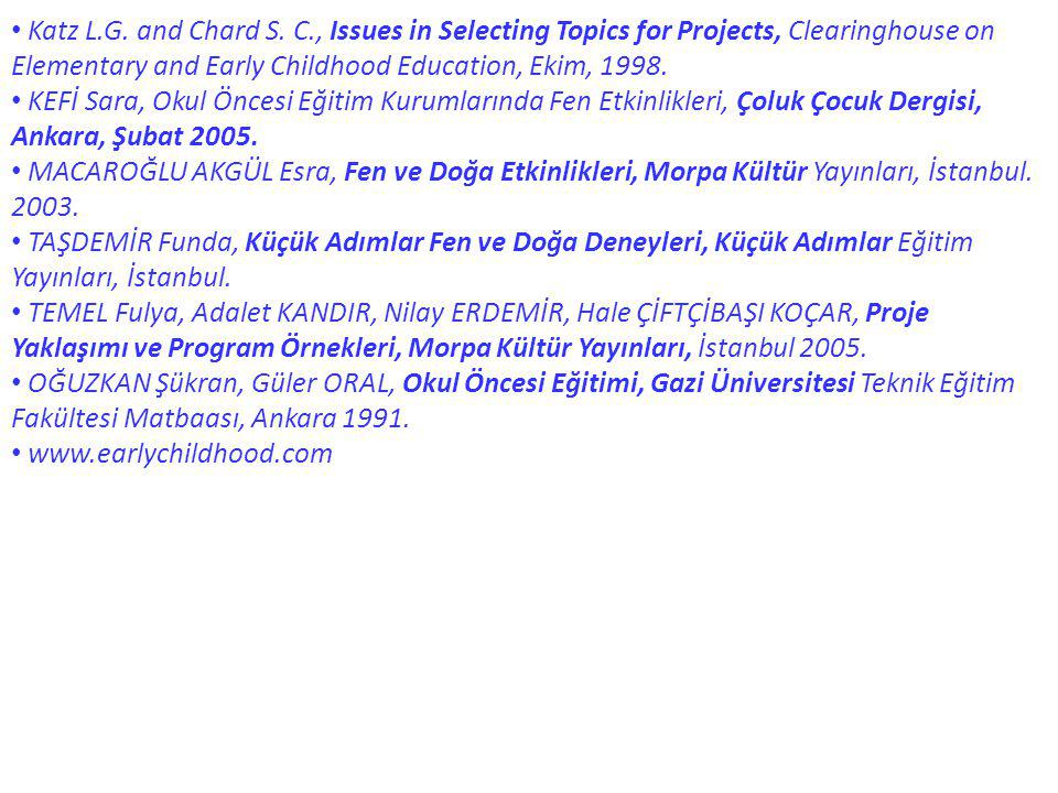 Katz L.G. and Chard S. C., Issues in Selecting Topics for Projects, Clearinghouse on Elementary and Early Childhood Education, Ekim, 1998. KEFİ Sara,