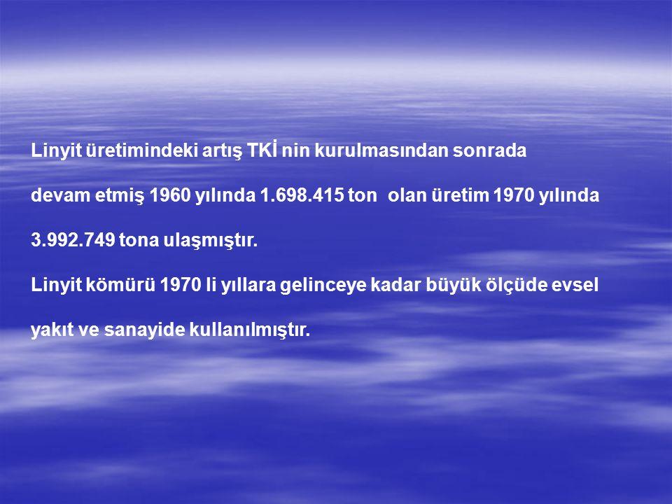 Linyit üretimindeki artış TKİ nin kurulmasından sonrada devam etmiş 1960 yılında 1.698.415 ton olan üretim 1970 yılında 3.992.749 tona ulaşmıştır.