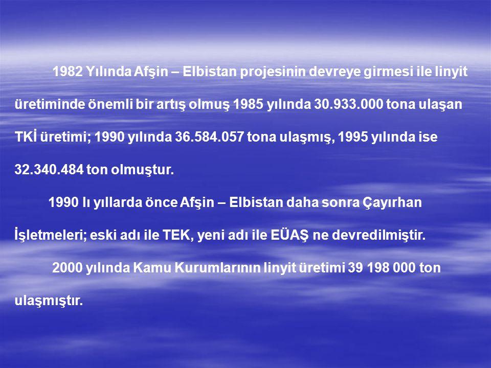 1982 Yılında Afşin – Elbistan projesinin devreye girmesi ile linyit üretiminde önemli bir artış olmuş 1985 yılında 30.933.000 tona ulaşan TKİ üretimi; 1990 yılında 36.584.057 tona ulaşmış, 1995 yılında ise 32.340.484 ton olmuştur.