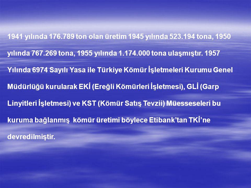1941 yılında 176.789 ton olan üretim 1945 yılında 523.194 tona, 1950 yılında 767.269 tona, 1955 yılında 1.174.000 tona ulaşmıştır. 1957 Yılında 6974 S