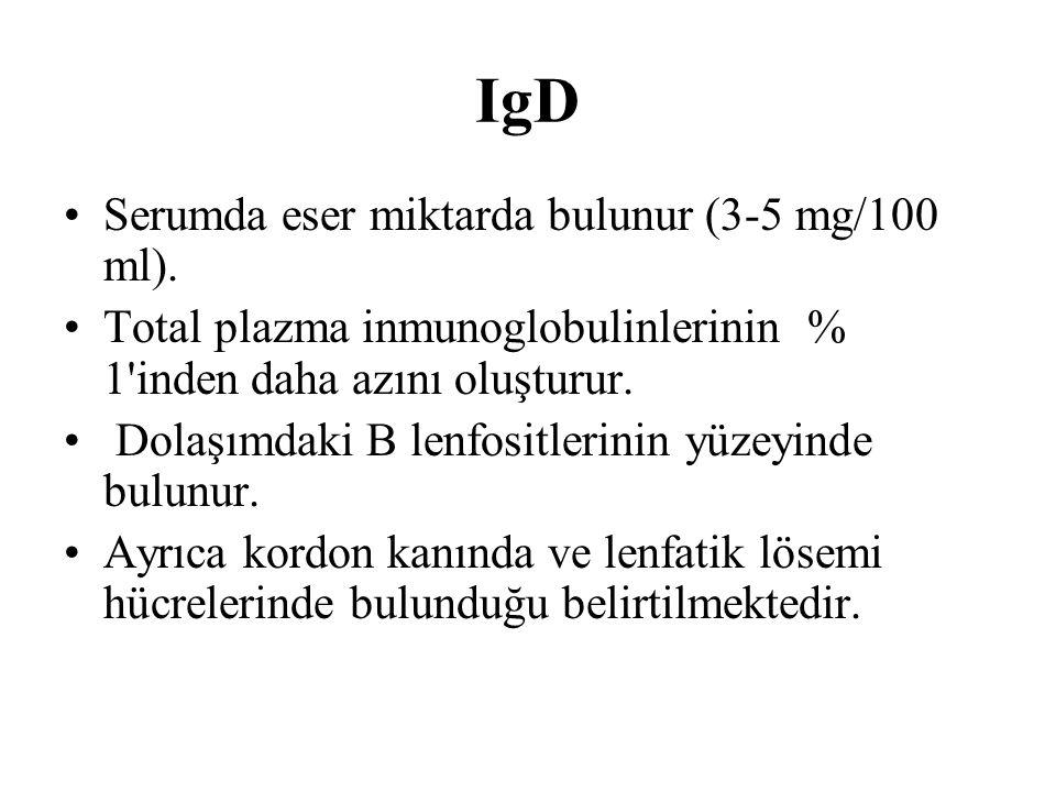 IgD Serumda eser miktarda bulunur (3-5 mg/100 ml). Total plazma inmunoglobulinlerinin % 1'inden daha azını oluşturur. Dolaşımdaki B lenfositlerinin yü