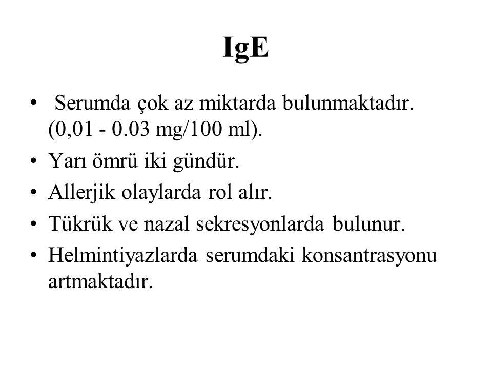 IgE Serumda çok az miktarda bulunmaktadır. (0,01 - 0.03 mg/100 ml). Yarı ömrü iki gündür. Allerjik olaylarda rol alır. Tükrük ve nazal sekresyonlarda