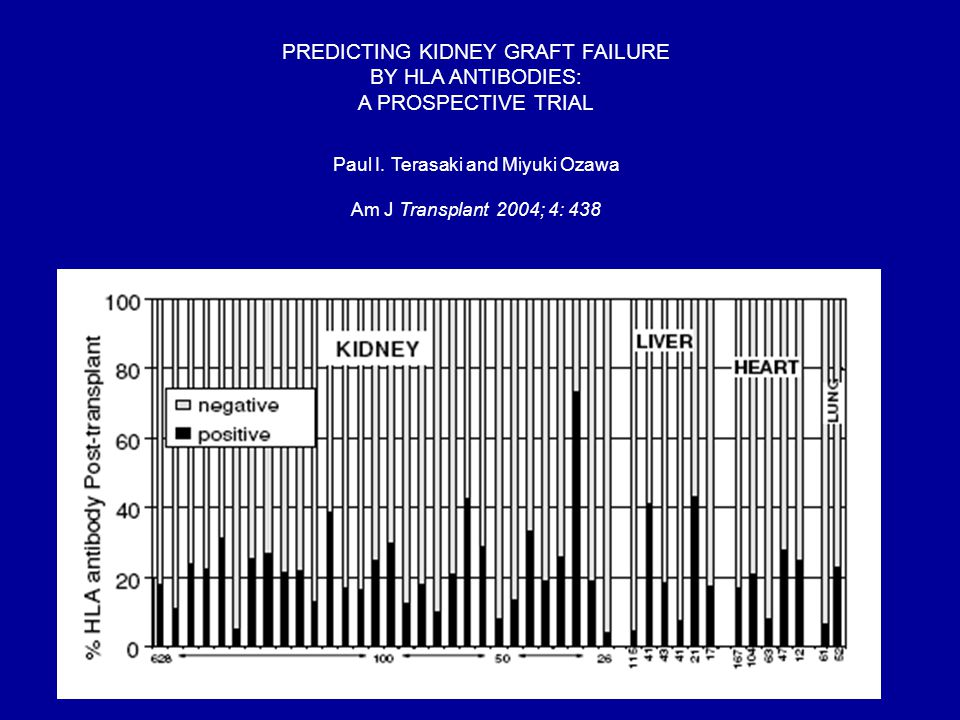 PREDICTING KIDNEY GRAFT FAILURE BY HLA ANTIBODIES: A PROSPECTIVE TRIAL Paul I. Terasaki and Miyuki Ozawa Am J Transplant 2004; 4: 438
