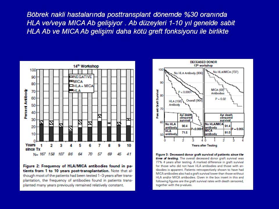 Böbrek nakli hastalarında posttransplant dönemde %30 oranında HLA ve/veya MICA Ab gelişiyor. Ab düzeyleri 1-10 yıl genelde sabit HLA Ab ve MICA Ab gel