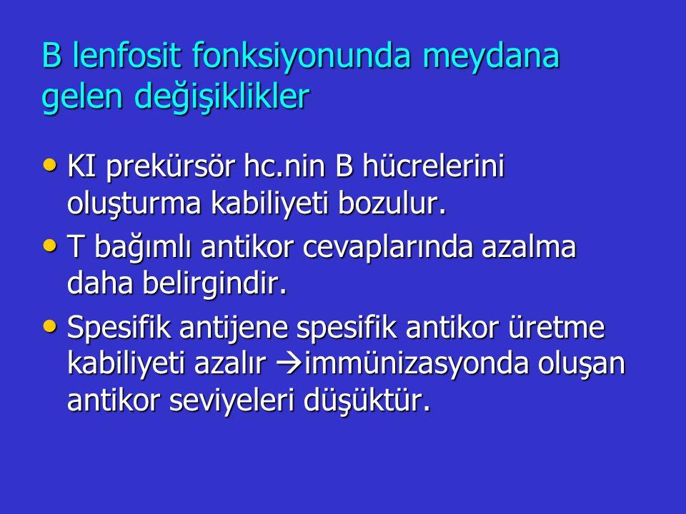 B lenfosit fonksiyonunda meydana gelen değişiklikler KI prekürsör hc.nin B hücrelerini oluşturma kabiliyeti bozulur. KI prekürsör hc.nin B hücrelerini
