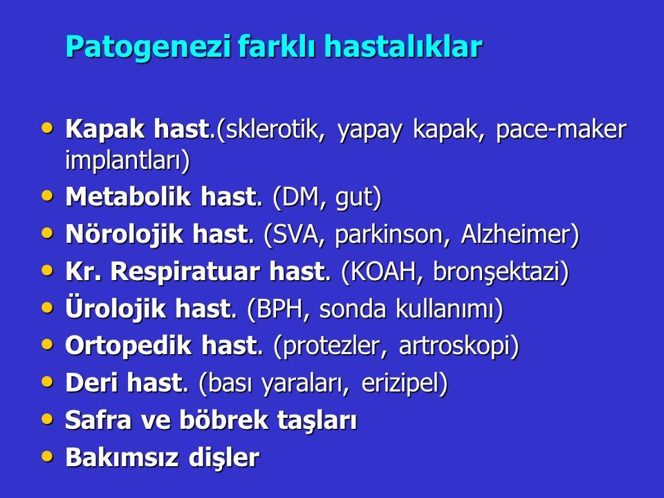Patogenezi farklı hastalıklar Kapak hast.(sklerotik, yapay kapak, pace-maker implantları) Kapak hast.(sklerotik, yapay kapak, pace-maker implantları)