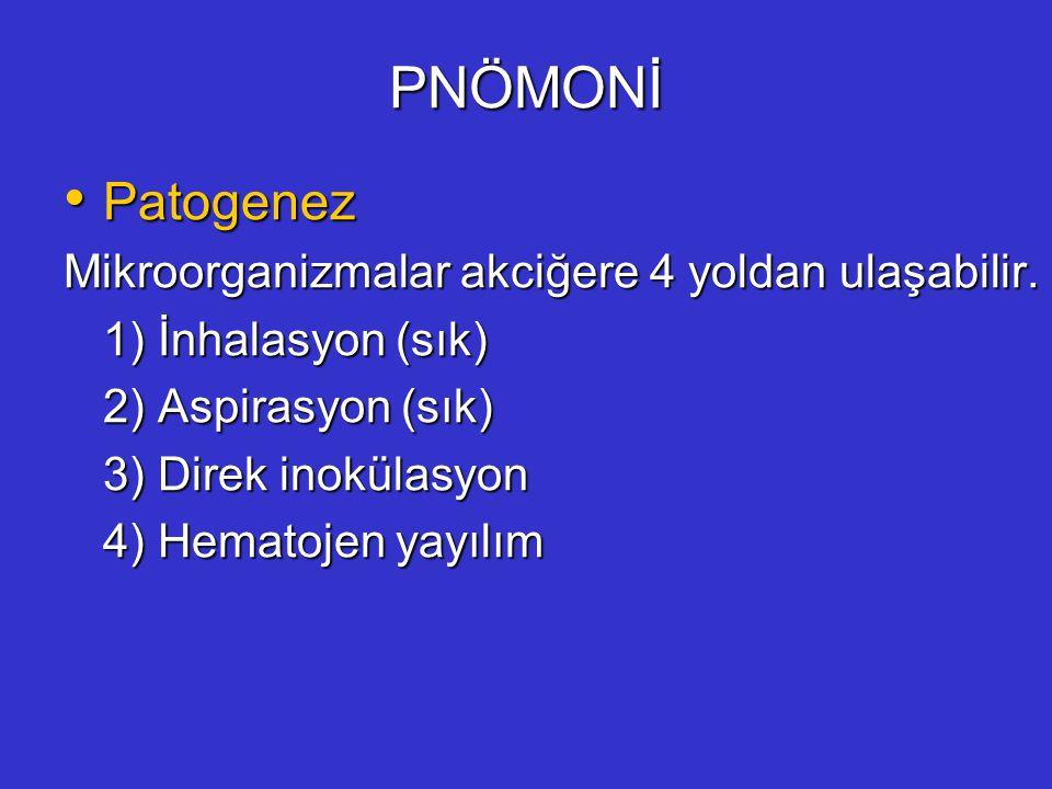 PNÖMONİ Patogenez Patogenez Mikroorganizmalar akciğere 4 yoldan ulaşabilir. 1) İnhalasyon (sık) 2) Aspirasyon (sık) 3) Direk inokülasyon 4) Hematojen