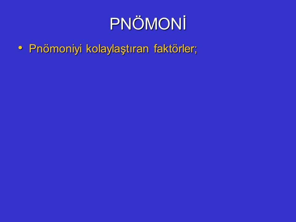 PNÖMONİ Pnömoniyi kolaylaştıran faktörler; Pnömoniyi kolaylaştıran faktörler;