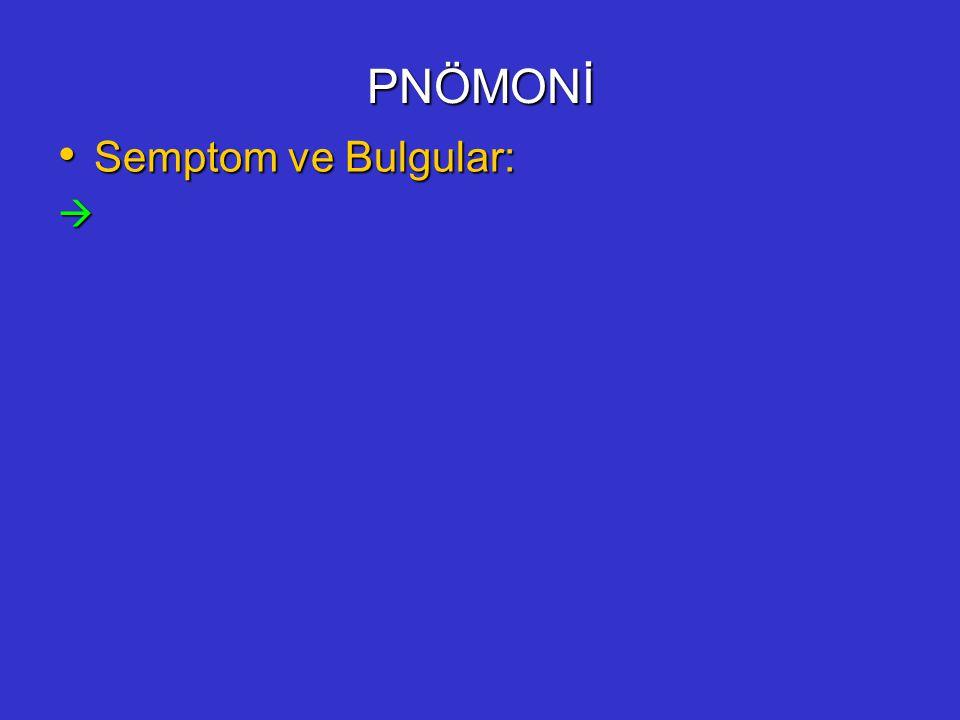 PNÖMONİ Semptom ve Bulgular: Semptom ve Bulgular: