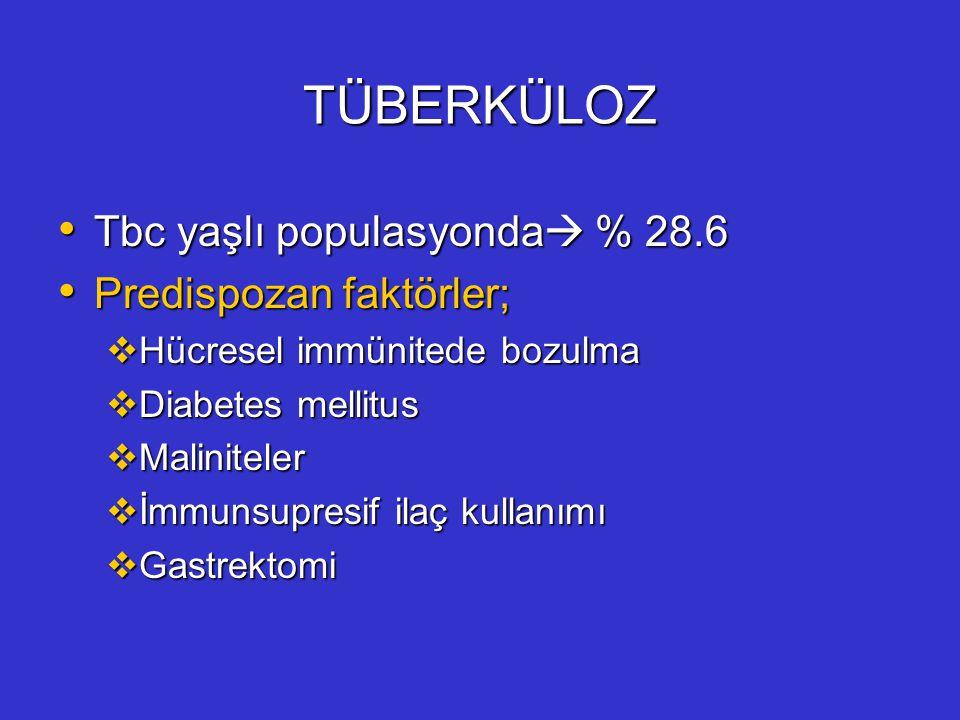 TÜBERKÜLOZ Tbc yaşlı populasyonda  % 28.6 Tbc yaşlı populasyonda  % 28.6 Predispozan faktörler; Predispozan faktörler;  Hücresel immünitede bozulma