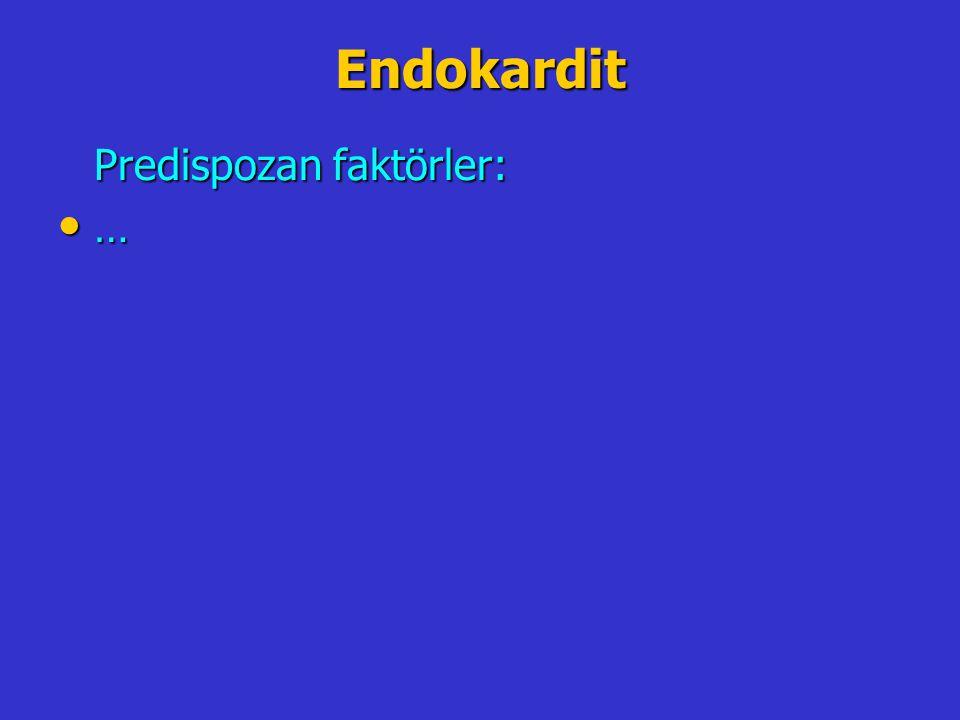 Endokardit Predispozan faktörler: …