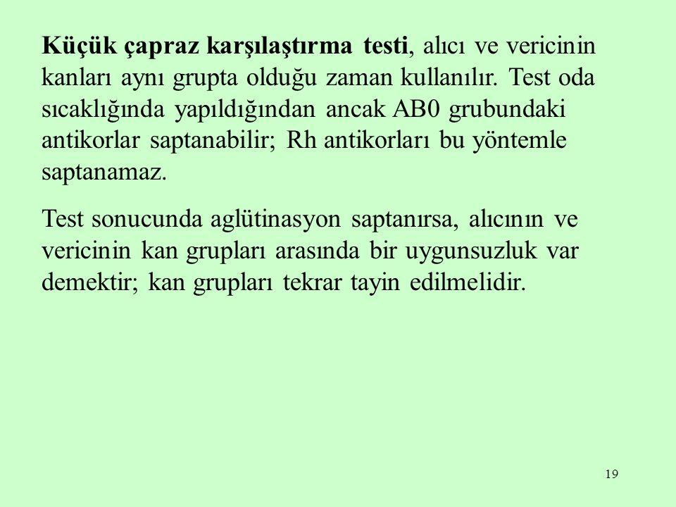 19 Küçük çapraz karşılaştırma testi, alıcı ve vericinin kanları aynı grupta olduğu zaman kullanılır. Test oda sıcaklığında yapıldığından ancak AB0 gru