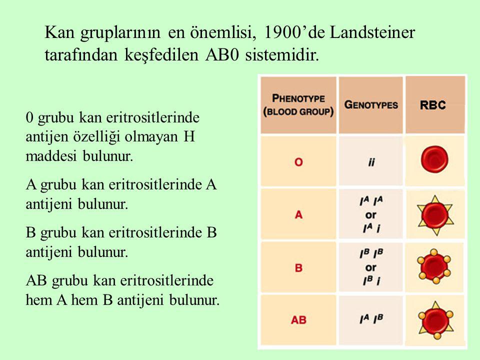 4 Kan gruplarının en önemlisi, 1900'de Landsteiner tarafından keşfedilen AB0 sistemidir. 0 grubu kan eritrositlerinde antijen özelliği olmayan H madde