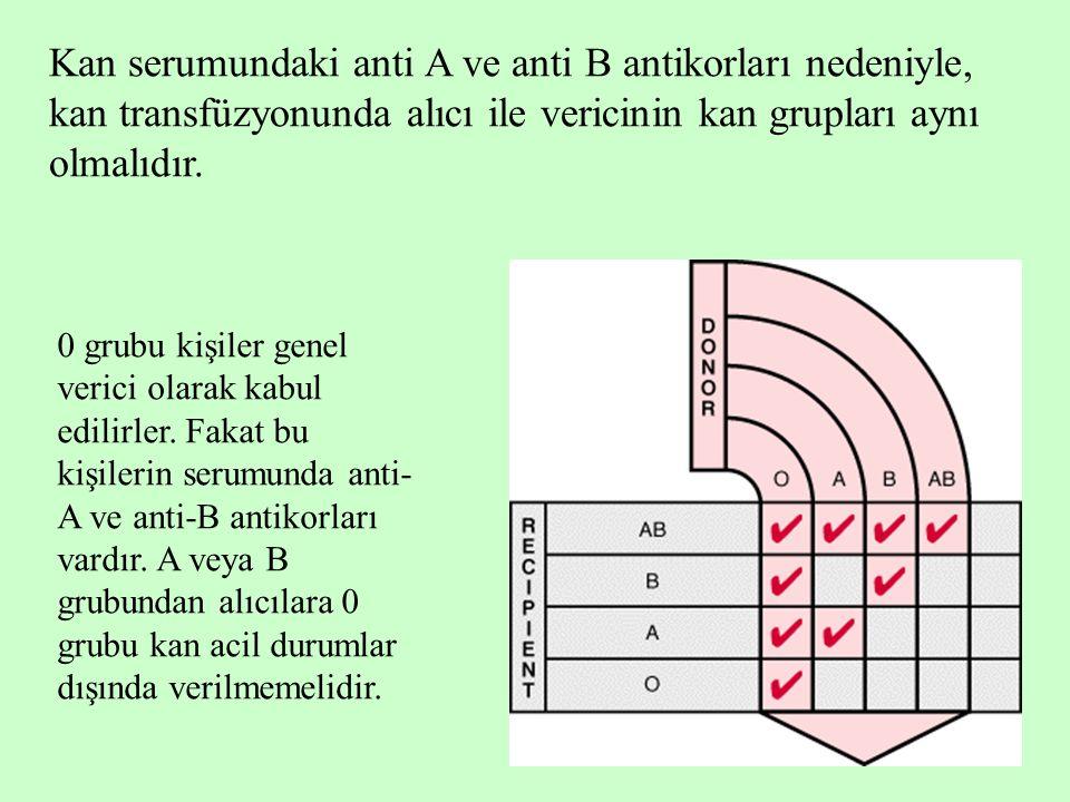 7 Kan serumundaki anti A ve anti B antikorları nedeniyle, kan transfüzyonunda alıcı ile vericinin kan grupları aynı olmalıdır. 0 grubu kişiler genel v