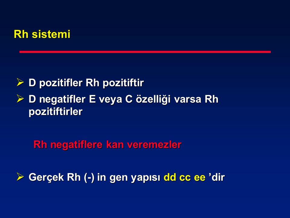 Rh sistemi  D pozitifler Rh pozitiftir  D negatifler E veya C özelliği varsa Rh pozitiftirler Rh negatiflere kan veremezler Rh negatiflere kan verem