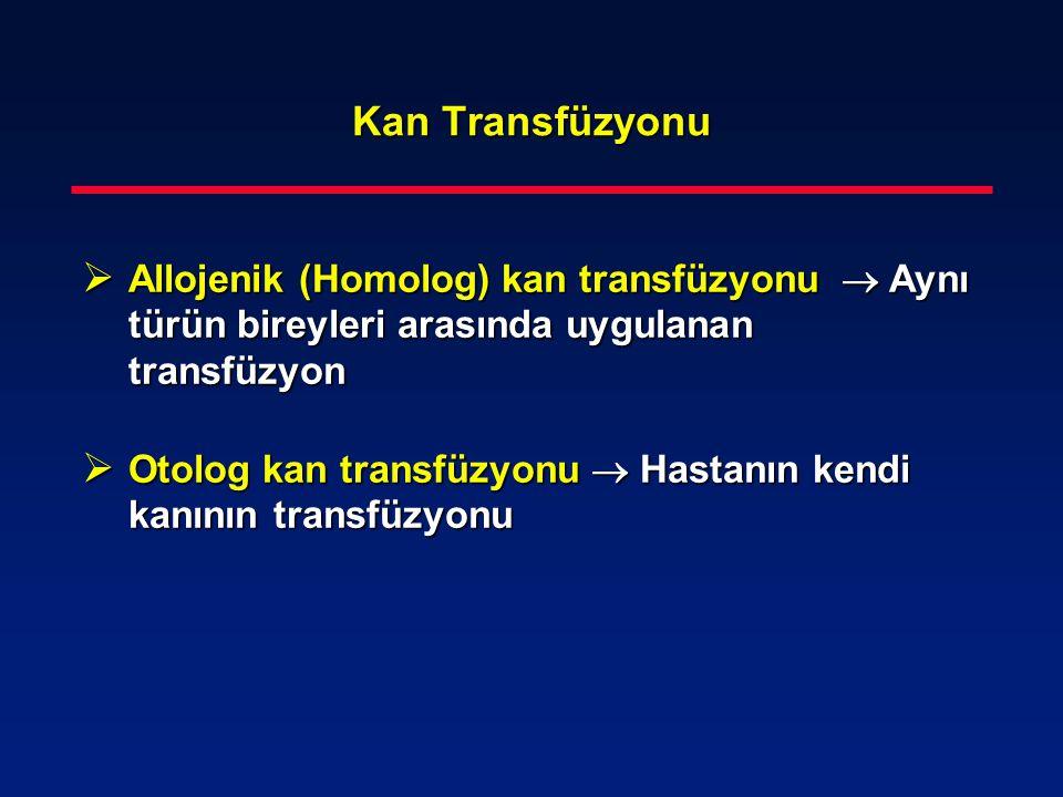 Kan Transfüzyonu  Allojenik (Homolog) kan transfüzyonu  Aynı türün bireyleri arasında uygulanan transfüzyon  Otolog kan transfüzyonu  Hastanın ken