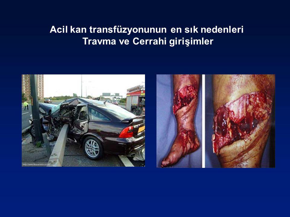 Acil kan transfüzyonunun en sık nedenleri Travma ve Cerrahi girişimler
