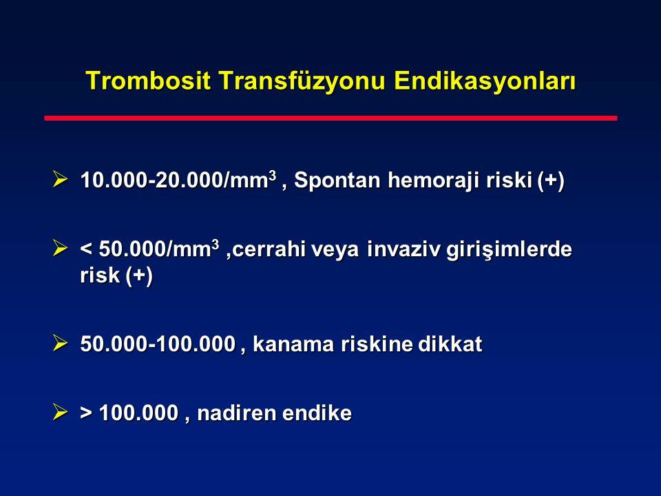 Trombosit Transfüzyonu Endikasyonları  10.000-20.000/mm 3, Spontan hemoraji riski (+)  < 50.000/mm 3,cerrahi veya invaziv girişimlerde risk (+)  50