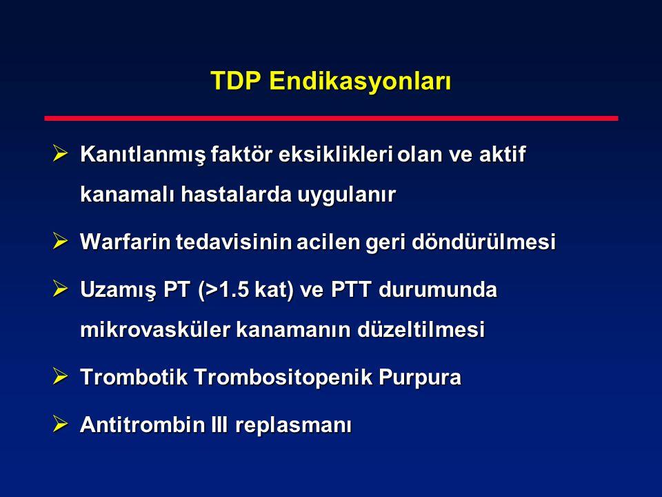 TDP Endikasyonları  Kanıtlanmış faktör eksiklikleri olan ve aktif kanamalı hastalarda uygulanır  Warfarin tedavisinin acilen geri döndürülmesi  Uza