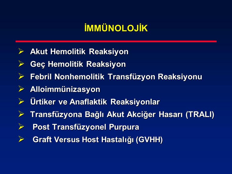 İMMÜNOLOJİK  Akut Hemolitik Reaksiyon  Geç Hemolitik Reaksiyon  Febril Nonhemolitik Transfüzyon Reaksiyonu  Alloimmünizasyon  Ürtiker ve Anaflakt