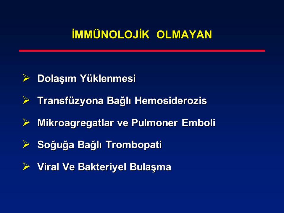 İMMÜNOLOJİK OLMAYAN  Dolaşım Yüklenmesi  Transfüzyona Bağlı Hemosiderozis  Mikroagregatlar ve Pulmoner Emboli  Soğuğa Bağlı Trombopati  Viral Ve