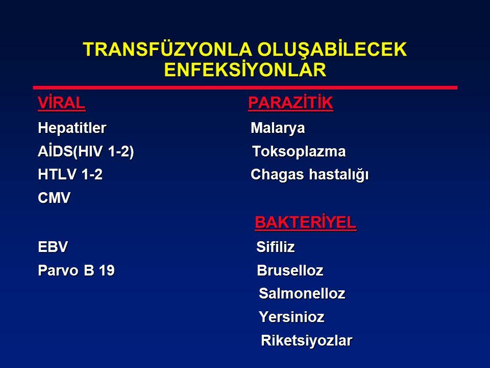 TRANSFÜZYONLA OLUŞABİLECEK ENFEKSİYONLAR VİRAL PARAZİTİK Hepatitler Malarya AİDS(HIV 1-2) Toksoplazma HTLV 1-2 Chagas hastalığı CMV BAKTERİYEL BAKTERİ