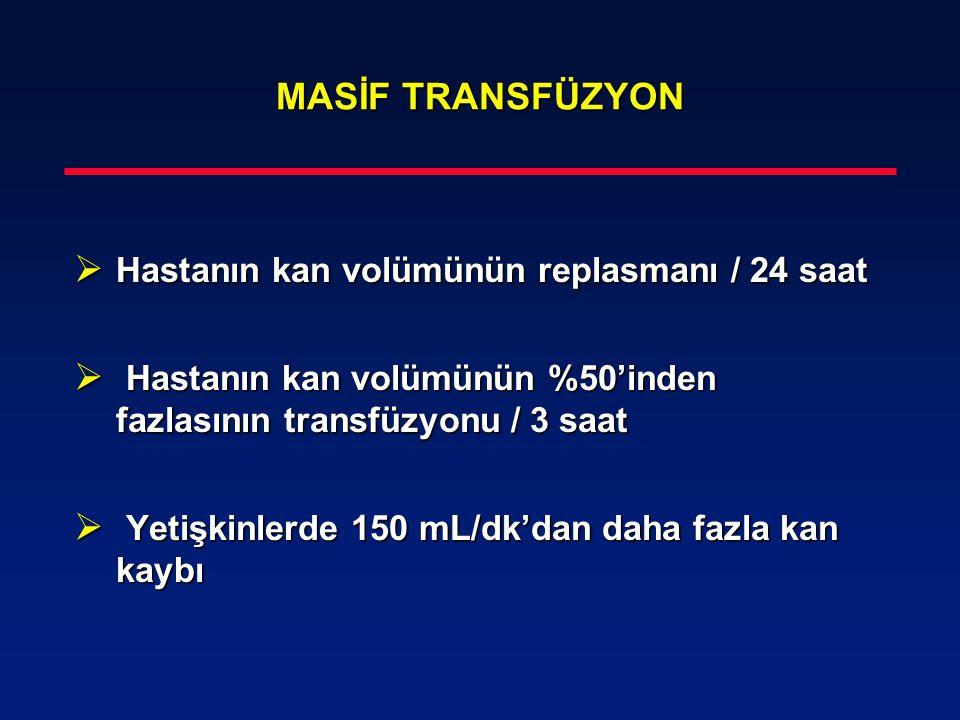 MASİF TRANSFÜZYON MASİF TRANSFÜZYON  Hastanın kan volümünün replasmanı / 24 saat  Hastanın kan volümünün %50'inden fazlasının transfüzyonu / 3 saat