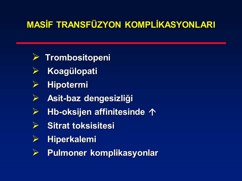 MASİF TRANSFÜZYON KOMPLİKASYONLARI  Trombositopeni  Koagülopati  Hipotermi  Asit-baz dengesizliği  Hb-oksijen affinitesinde   Sitrat toksisites