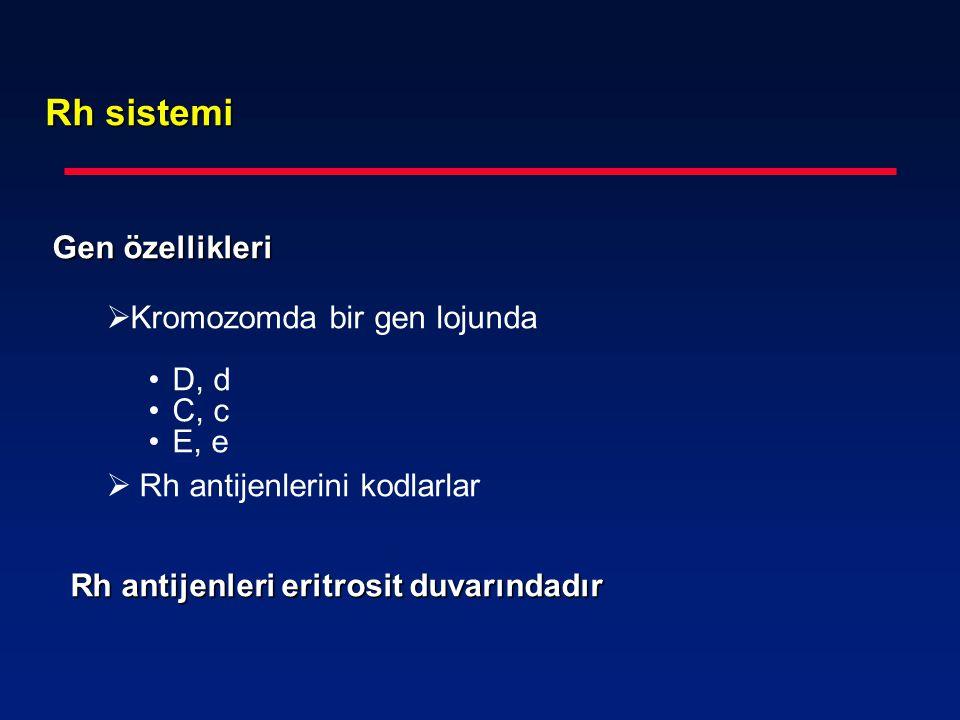 Rh sistemi Gen özellikleri  Kromozomda bir gen lojunda D, d C, c E, e  Rh antijenlerini kodlarlar Rh antijenleri eritrosit duvarındadır Rh antijenle