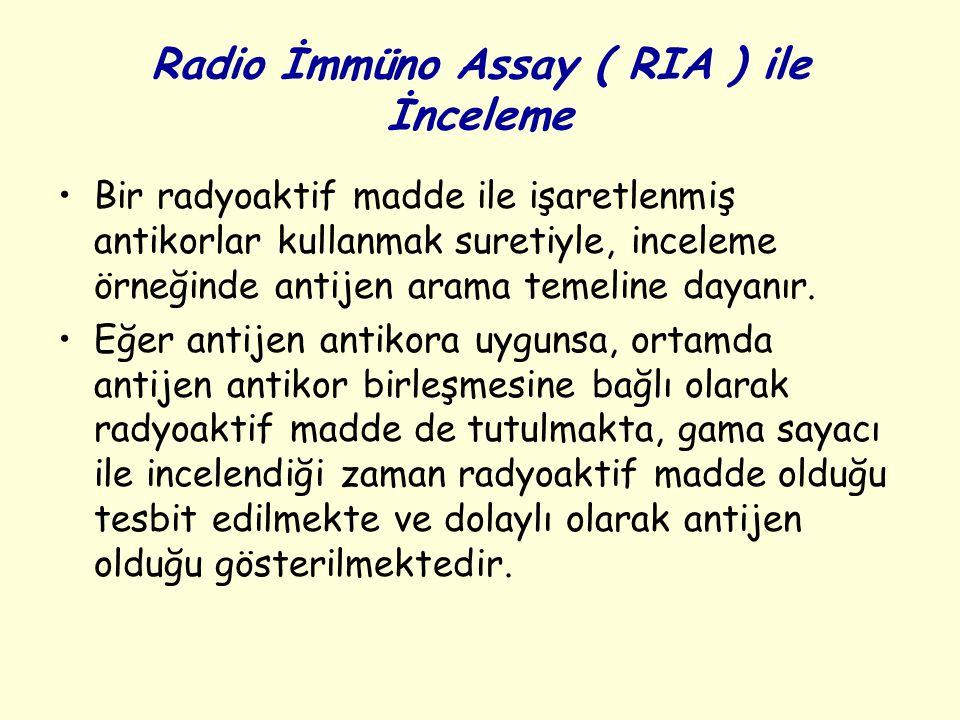 Radio İmmüno Assay ( RIA ) ile İnceleme Bir radyoaktif madde ile işaretlenmiş antikorlar kullanmak suretiyle, inceleme örneğinde antijen arama temeline dayanır.