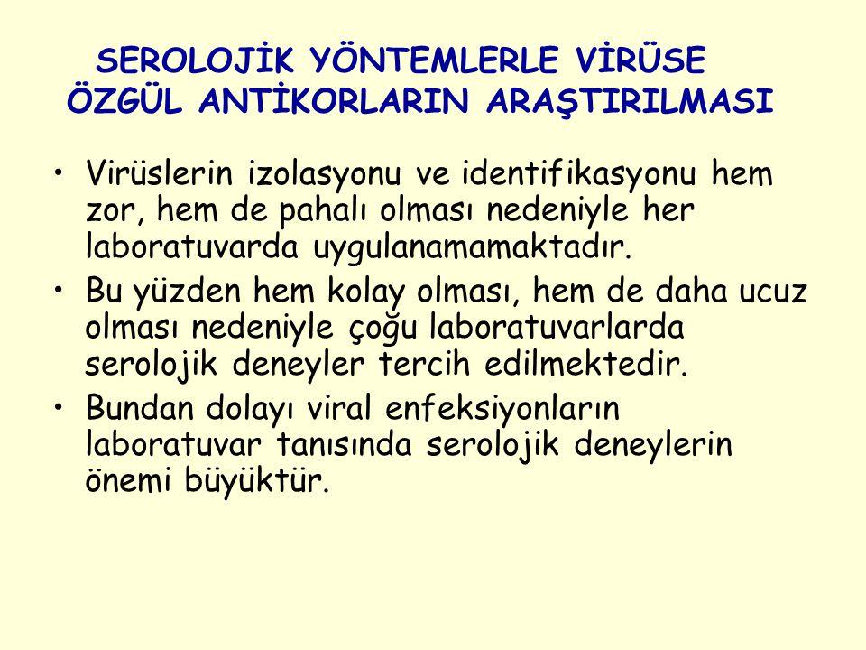 SEROLOJİK YÖNTEMLERLE VİRÜSE ÖZGÜL ANTİKORLARIN ARAŞTIRILMASI Virüslerin izolasyonu ve identifikasyonu hem zor, hem de pahalı olması nedeniyle her lab