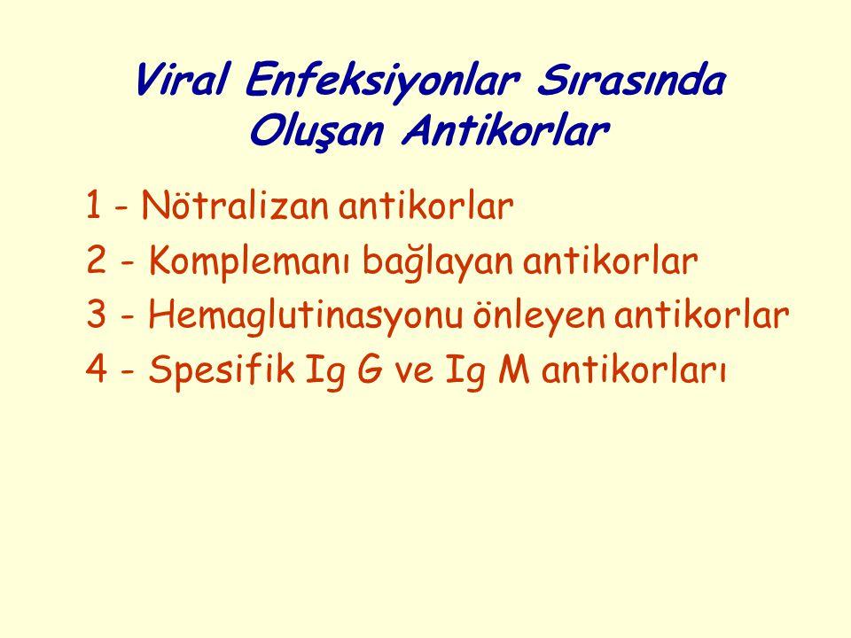 Viral Enfeksiyonlar Sırasında Oluşan Antikorlar 1 - Nötralizan antikorlar 2 - Komplemanı bağlayan antikorlar 3 - Hemaglutinasyonu önleyen antikorlar 4 - Spesifik Ig G ve Ig M antikorları