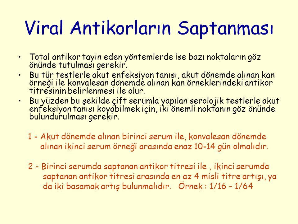 Viral Antikorların Saptanması Total antikor tayin eden yöntemlerde ise bazı noktaların göz önünde tutulması gerekir.