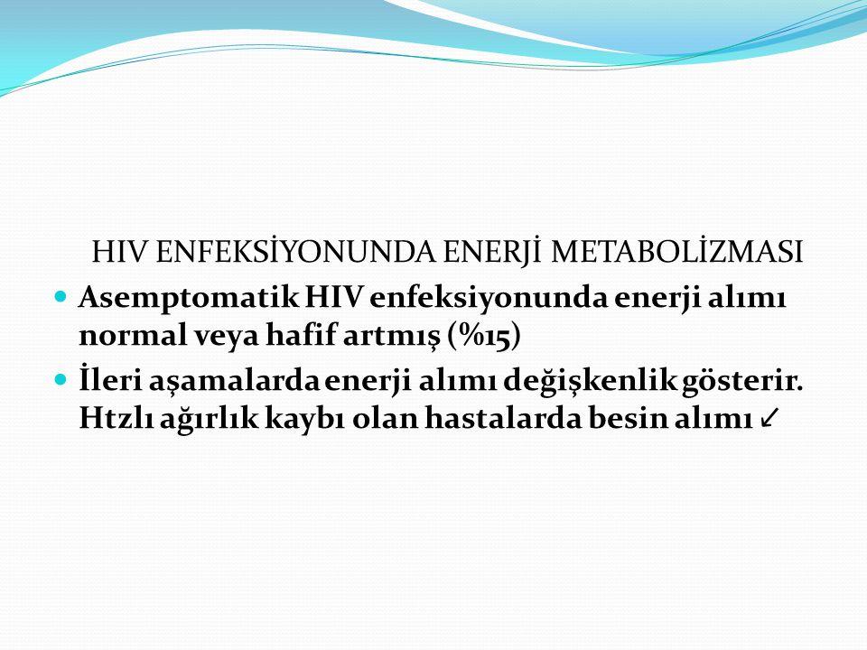 HIV ENFEKSİYONUNDA ENERJİ METABOLİZMASI Asemptomatik HIV enfeksiyonunda enerji alımı normal veya hafif artmış (%15) İleri aşamalarda enerji alımı deği