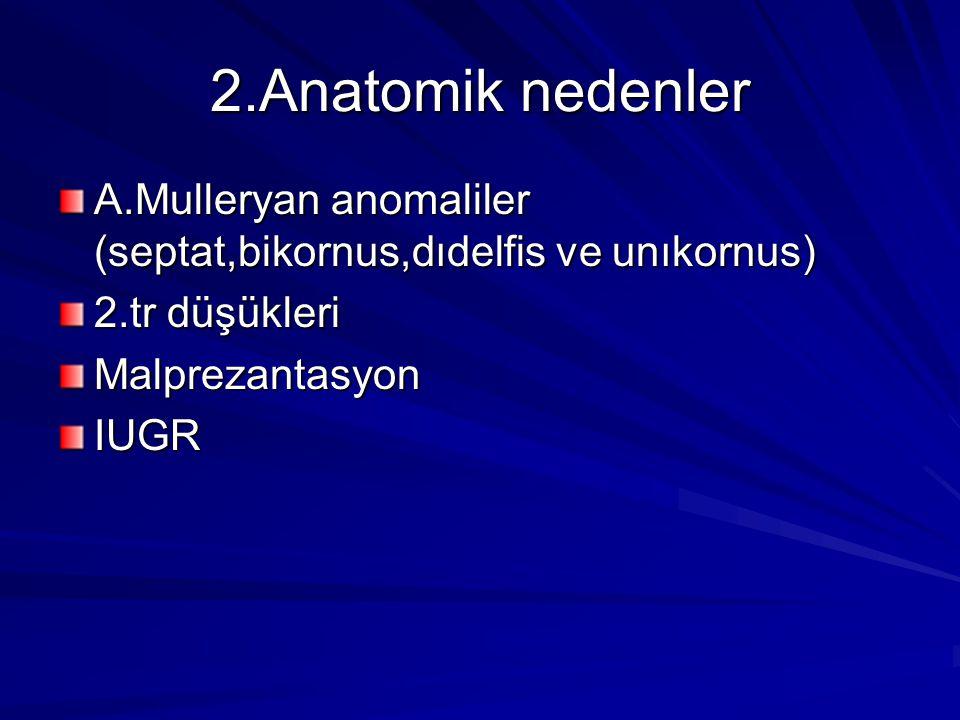 2.Anatomik nedenler A.Mulleryan anomaliler (septat,bikornus,dıdelfis ve unıkornus) 2.tr düşükleri MalprezantasyonIUGR